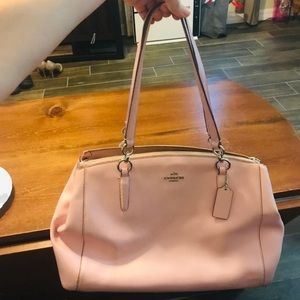 Coach large tote purse light pink leather bag